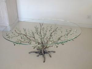 L 39 olivier forg table basse verre ovale for Table de salon bois verre versailles